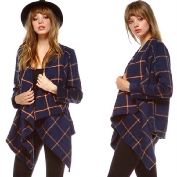 Jackets & Blazers - Navy Plaid Draped Open Front Jacket